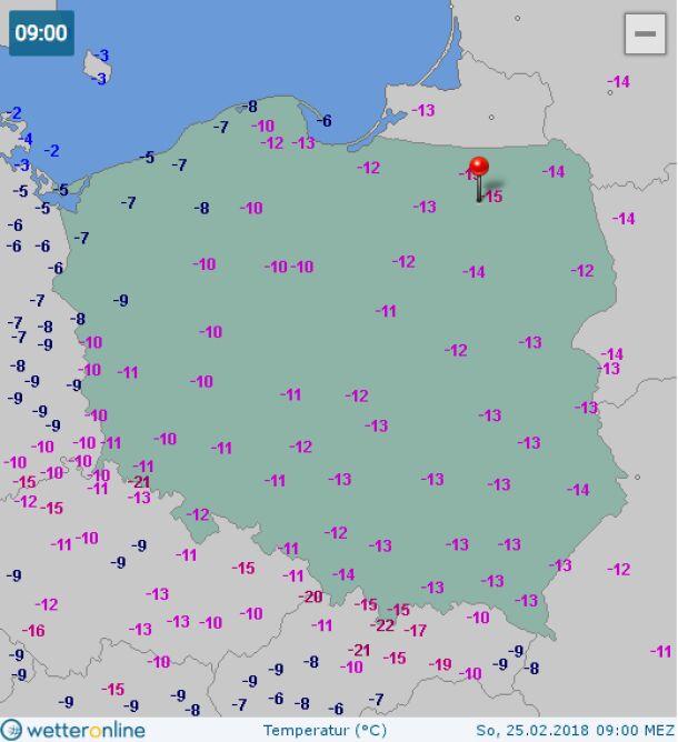 Temperatura w niedzielę o godz. 9.00