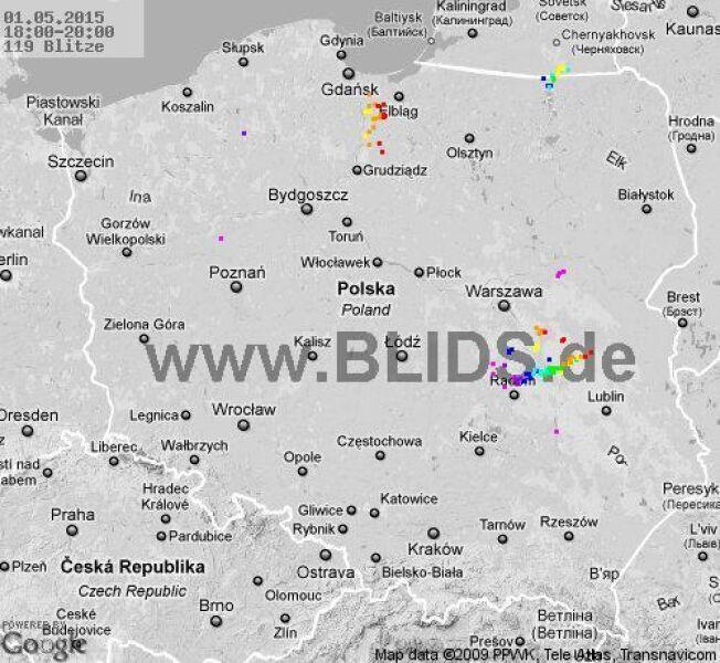 Wyładowania atmosferyczne nad Polską z godziny 20.00