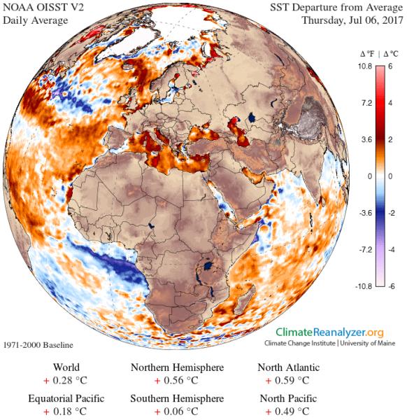 Odchylenie temperatury wód powierzchniowych od średniej z wielolecia (NOAA)