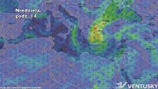 Prognozowane położenie cyklonu w niedzielę o godz. 14