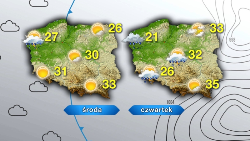 Prognozowane temperatury na środę i czwartek