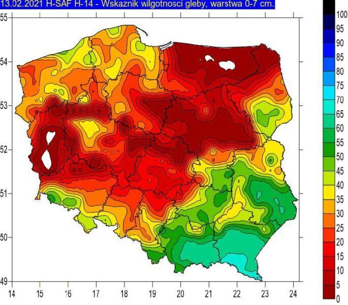 Wskaźnik wilgotności gleby na głębokości 0-7 cm w dniu 13.02.2021 na podstawie obrazów satelitarnych. W okresie zimowym wartości zbliżone do zera (kolor biały i czerwony) oznaczają przemarznięcie gleby (IMGW-PiB)